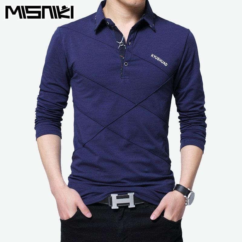 Misniki 2018 new spring men long sleeve   polo   shirts cotton casual male shirt M-5XL AXP43