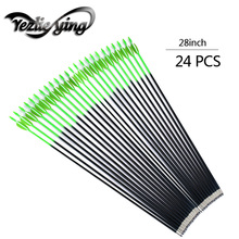 24PCS 28Inch Emerald Green Fiberglass Arrows White Feather Replaceable Arrow Compound Bow Hunting Archery