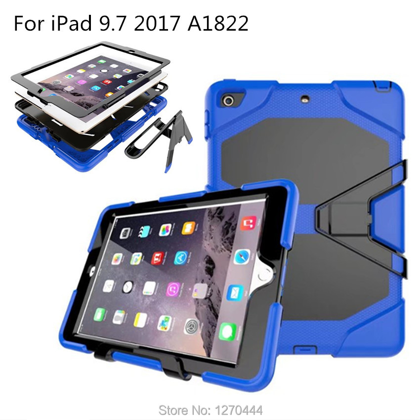 For iPad 2017/2018 9.7, 3-Layer Silicone+PC Hybrid Rugged Stand Shockproof Water Repellent Cover for iPad 6th Generation A1954