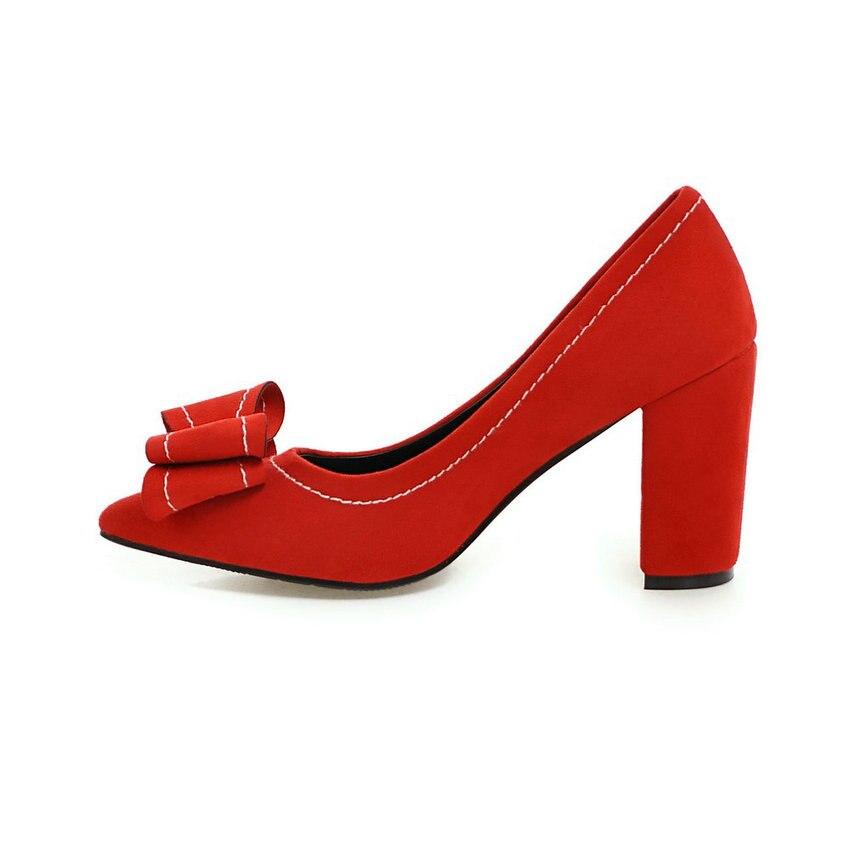 Noir Noeud Talons Carré Slip Bout À Noir Sur gris De Femme Pompes rouge Dames Femmes Flock 43 Papillon Chaussures Mariage Taille marron 34 Qutaa Pointu Hauts xwB07qB