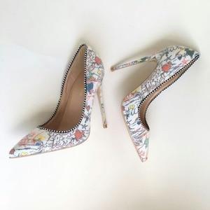 Image 2 - Keshangjia Plus  woman shoes 2018 girls sexy high heels printed multi colors stilettos 12 10 8cm wedding shoes