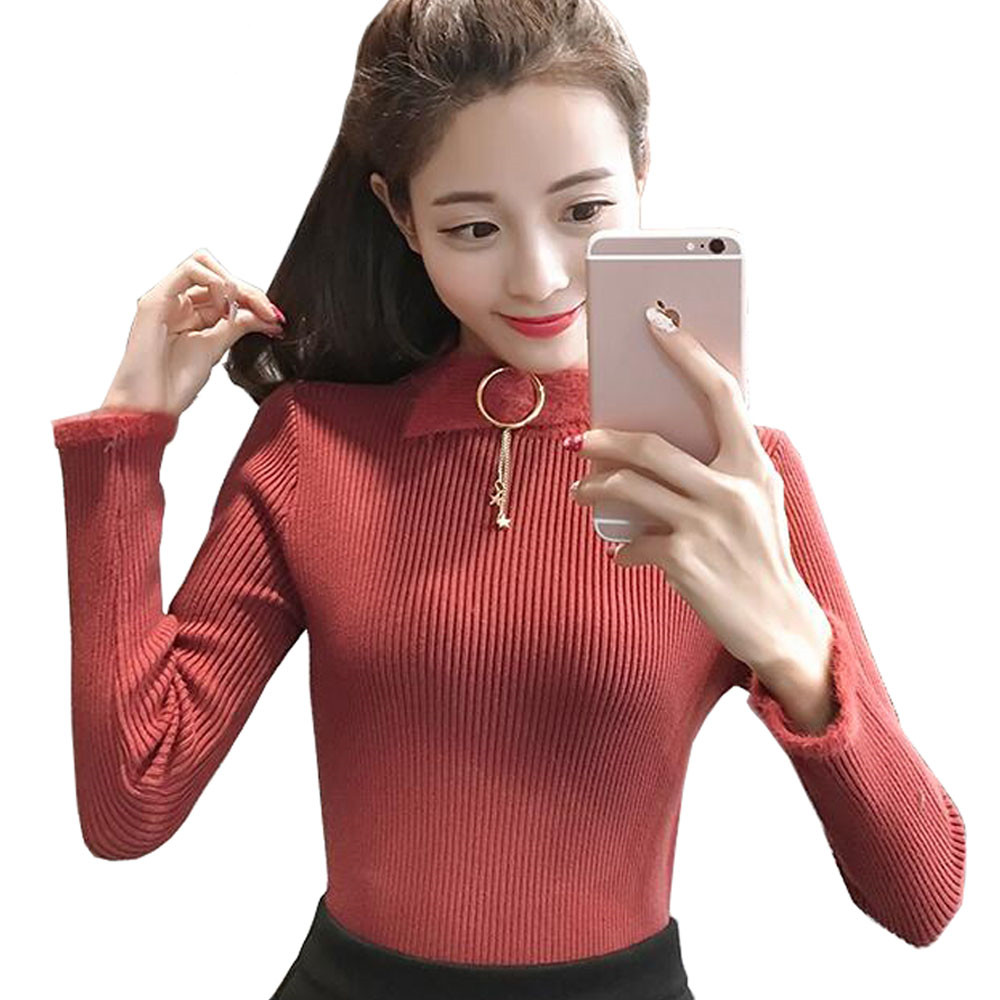 JKKUCOCO Newest Autumn Winter Sweet Women Sweaters Long Sleeve O neck Fashion Solid Thick Sweaters Women
