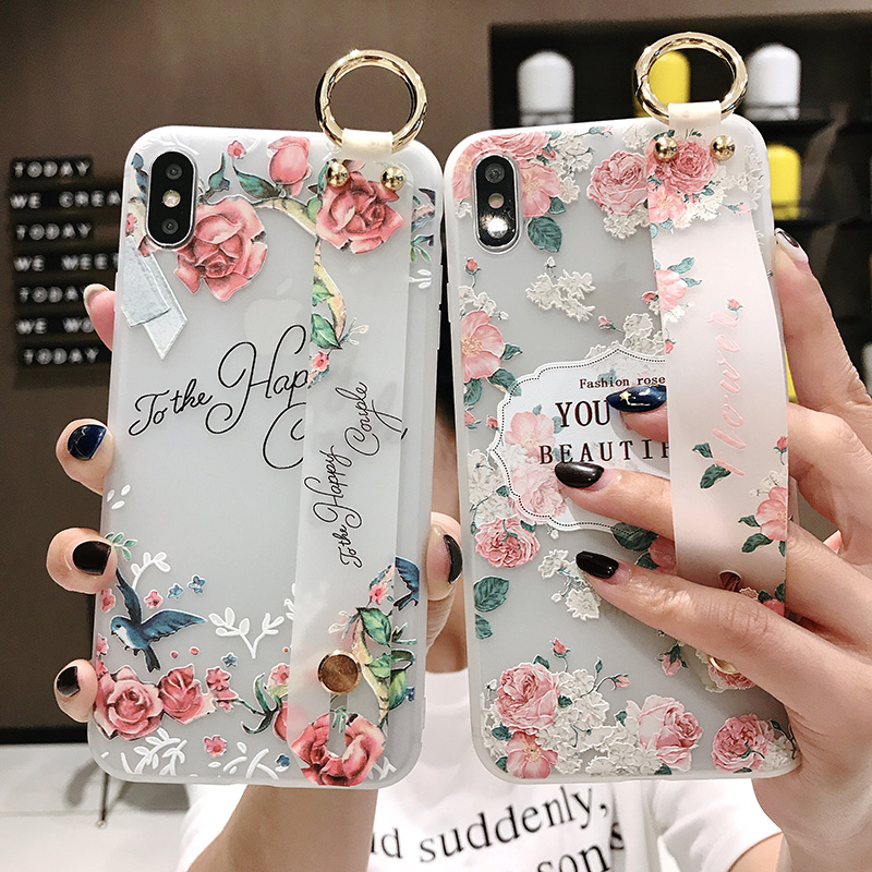 Flower 3D Embossed <font><b>Case</b></font> For iphone 11 pro x xs max xr 8 7 6 plus Silicon Soft TPU Cover for <font><b>samsung</b></font> s10 <font><b>s9</b></font> Wrist Strap Coque image