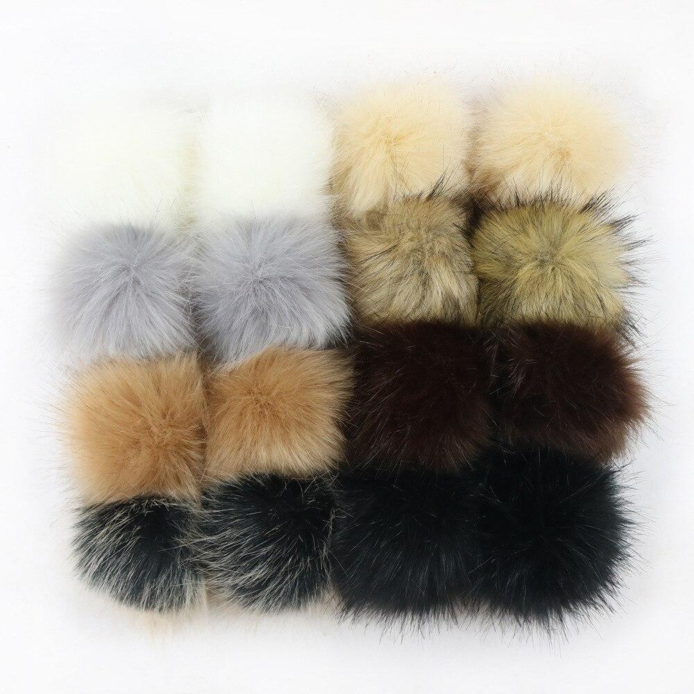 12pcs/lot Handmade DIY Artificial Raccoon Ball False Hairball Hat Ball Pom Pom Wholesale Cap Faux Fox Fur PomPom 8/10/12/15/cm