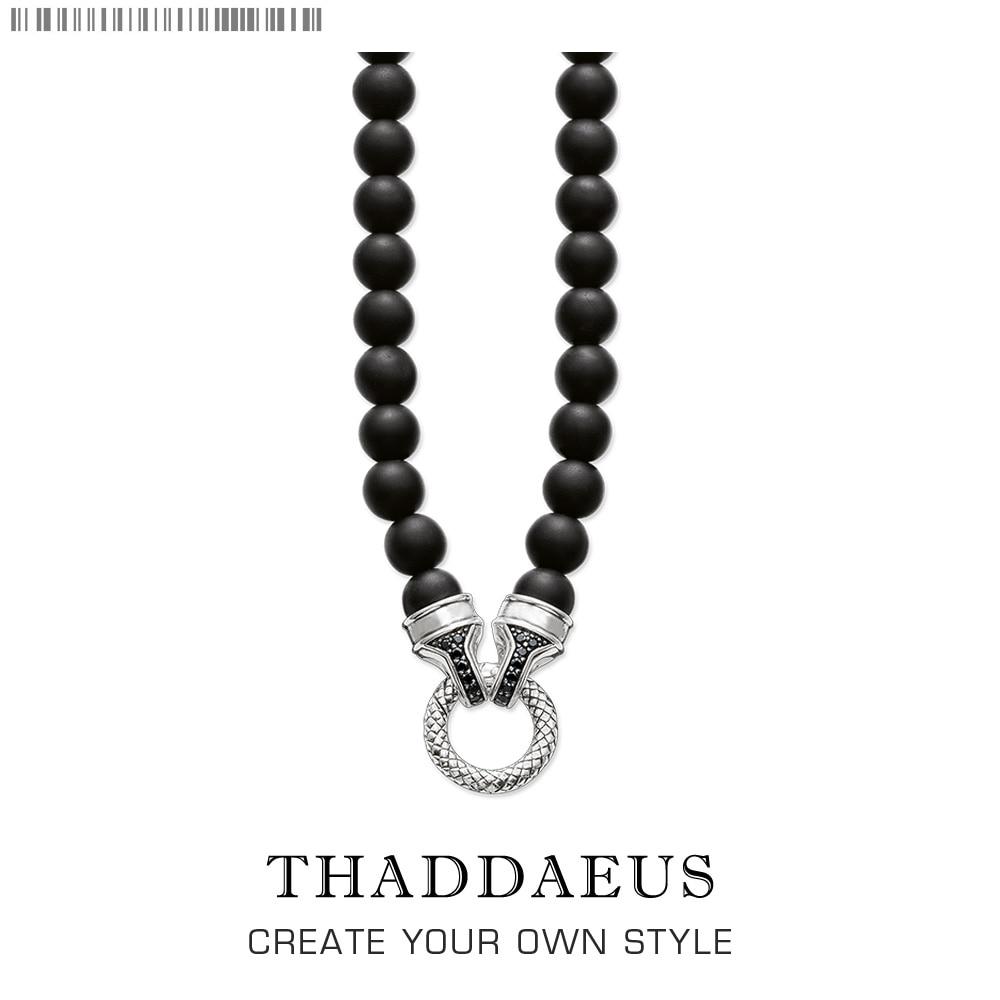 Beads Necklace Obsidian,2017 Brand New Ts Strand Fashion Jewelry Thomas Style Rebel Cross Bijoux Gift For Men & Women Friend