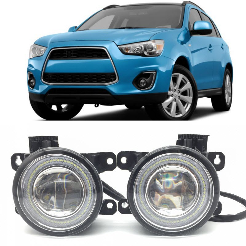 For Mitsubishi ASX Outlander Sport 2010-2017 2in1 LED Angel Eyes DRL Daytime Running Lights Cut-Line Lens Fog Lights Car-Styling car styling 2 in 1 led angel eyes drl daytime running lights cut line lens fog lamp for land rover freelander lr2 2007 2014