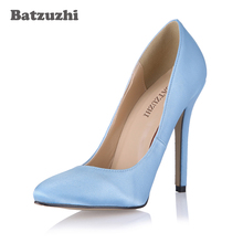 Batzuzhi White Sexy Wedding Bridal Party Shoes Women Pointed Toe Stiletto High Heels Ladies Pump Zapatos Mujer, Big Size US 10.5 2016 winter sexy party shoes women stiletto high heels ladies knee high boots zapatos mujer 3463bt q3