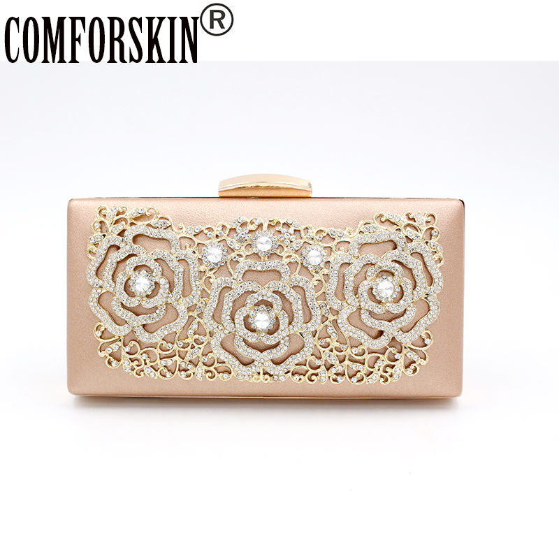 COMFORSKIN Fashion Women Clutch Wallet Evening Bag wedding Flower Crystal Beaded Chain Party Cross-body