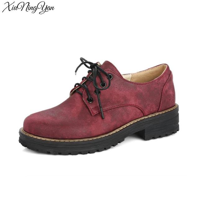 8173bd1f3e5 Spring Fashion Women s Flats Shoe Lace-up Flat Platform Creepers ArmyGreen