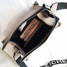 Scrub Leather Messenger Bag Women Handbags Letter Wide Strap Chains Design Bucket Shoulder Bag