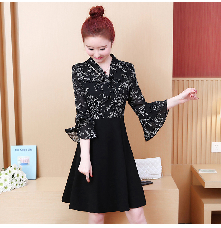 L-5XL Plus Size Women Floral Print Dress Summer 2019 Korean Bow V-neck Ruffle Flare Sleeve Chiffon Patchwork A-Line Dresses 9