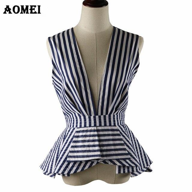58a674e103362 مثير الخامس الرقبة الصيف القمم أكمام أزرق أبيض شريط البلوزات قمصان الكشكشة  تريم المرأة أزياء سيدة