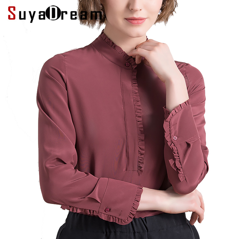 Women SILK   Blouse   23MM 100% Real silk Stand collar Long sleeved casual   Blouse     Shirt   Blusas femininas 2019 Spring New