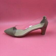 เปลือยเท้าชี้พลาสติกTrasparentปั๊มผู้หญิงกับหนังสิทธิบัตรเปลือยส้นส้นแควต่ำลื่นบนออกแบบปลอมรองเท้า
