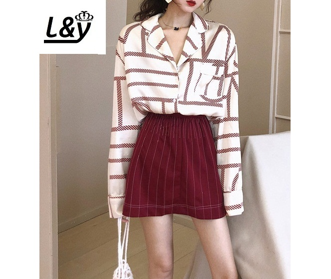 L&Y Vogue Shirt+Skirt Ladies Units Irregular Striped Geometric Prints 2019 Spring Autumn Lengthy Sleeves Women Clothes Ladies's Units, Low cost Ladies's Units, L&Y Vogue Shirt+Skirt Ladies Units Irregular Striped...