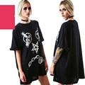 Punk Rock Mujeres de la Camiseta de Algodón Impresión Cruzada de Manga corta Más Tamaño Camiseta Top Negro Verano Otoño Camiseta Femme
