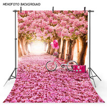 MEHOFOTO Background Wedding Photography Backdrops for Photocall Boda Birthday Party Theme Backdrop Romantic Pink Flowers Bike allenjoy vinyl photo backdrops pink board flowers romantic wedding backdrop photocall professional customize excluding stand