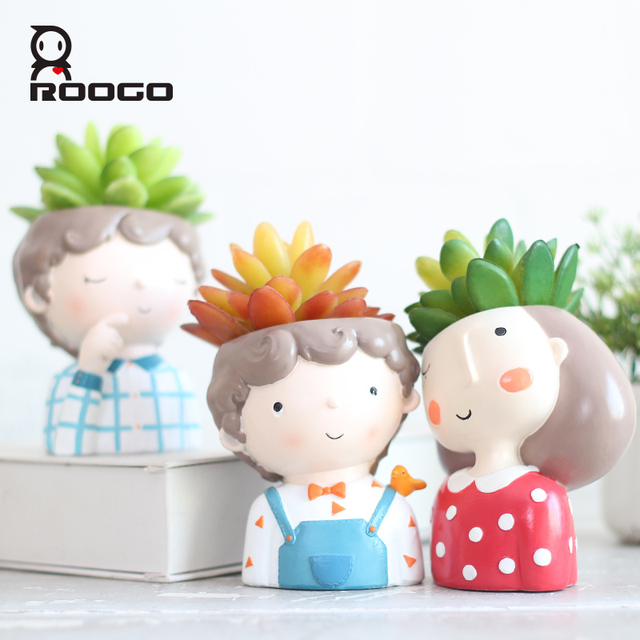 Roogo Cartoon Animal Zebra Decorative Flower Pot Resin Succulent Plant Pot Garland girl Bonsai Pot For Flower Cute Flowerpots