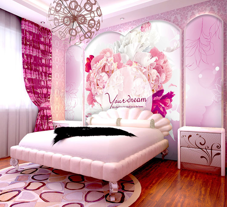 Custom pink girl romantic wedding room bedroom 3D wallpaper murals 3D wallpaper the living room TV backdrop painting pink romantic sakura reflection large mural wallpaper living room bedroom wallpaper painting tv backdrop 3d wallpaper