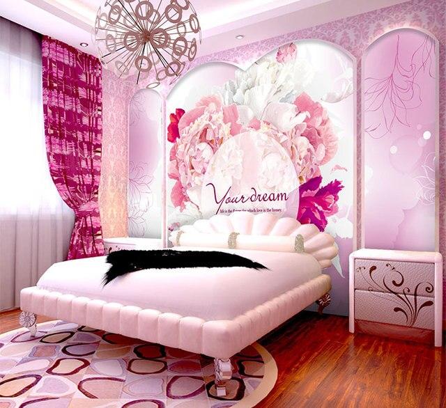 Custom pink girl romantic wedding room bedroom 3D wallpaper murals ...