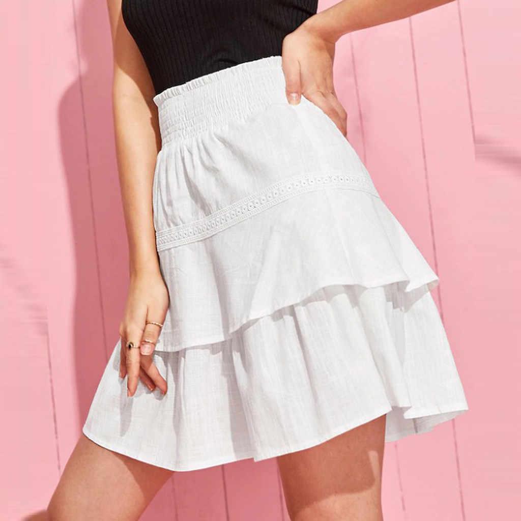 Dwie warstwy solidna Casual spódnice moda Sexy kobiety stałe Caver się koronki wzburzyć wysokiej talii na co dzień krótkie spódnica Drop Shipping