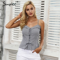 Simplee Lace Up Zipper Strap Camisole Tank Top Female Backless Elastic Casual Cropped Top Women Skinny