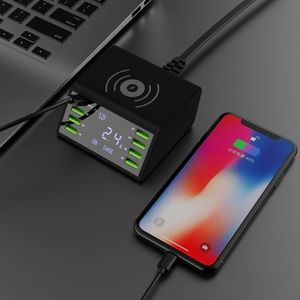 Image 4 - QC 3.0 Quick Charger 8 Ports USB Hub Charging Dock Station Qi Wireless Fast Charger with Voltage/Current Display for iphone