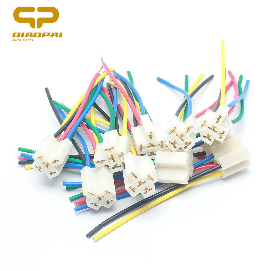 10pcs Universal 5 Pin Relay Socket Copper Wire Refit Auto Light GPS Horn Fan Socket for Car Motorcycle Boat Train Harness Relay