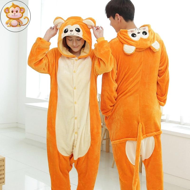 Lemur Monkey Cartoon Adult Homewear Animal Pajamas Sleepwear Onesies Pajama Clothing For Women Men Couples Womens Home