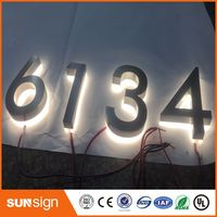 Custom LED Backlit Stainless Steel Letters Sign Illuminated House Number