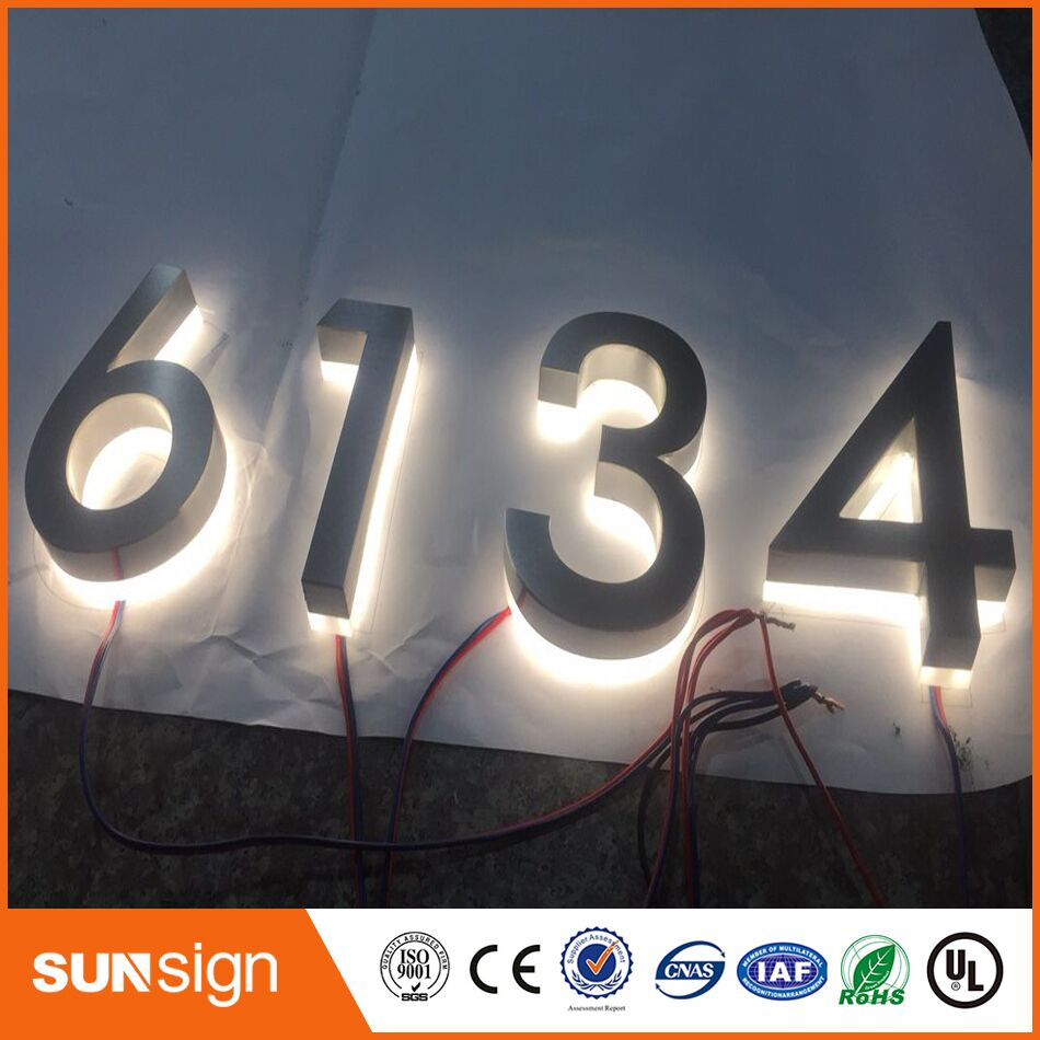 Custom Stainless Steel Illuminated House Number