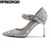 Серебряные блестки насосы Указательный палец Scarpin сверкание обувь Размер 33 сверкающий Серебряный горный хрусталь Bling платье женщина невест...
