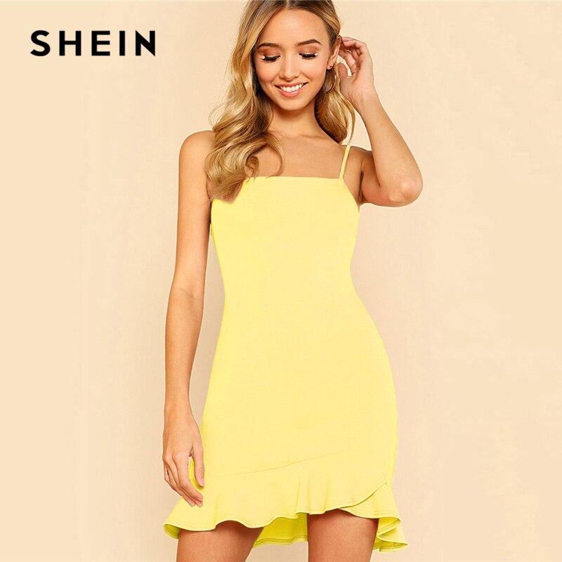 331603f97f SHEIN Yellow Party Sexy Ruffle Hem Solid Asymmetrical Drop Waist Cami  Sheath Dress Summer Women Going