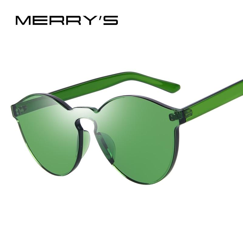 Donne di Modo MERRY'S Cat Eye Shades occhiali Da Sole di Lusso Integrato Eyewear di Colore Della Caramella UV400