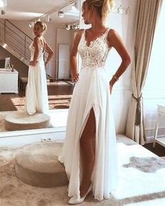 Image 2 - LORIE Beach Wedding Dress 2019 Side Split Top Lace Boho Bride Dress Sexy Appliques Wedding Gown Custom Made Vestidos de novia