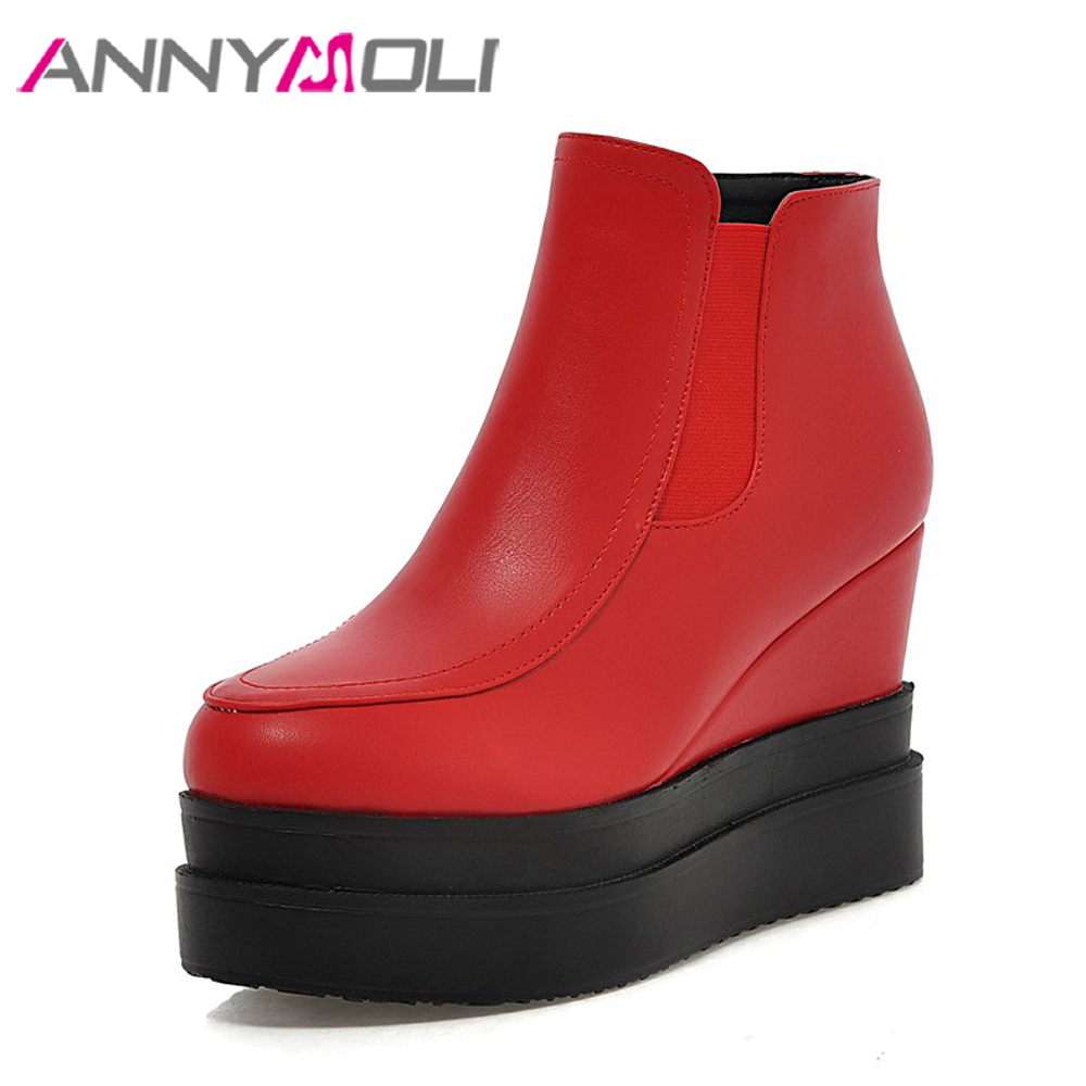 ANNYMOLI Women Boots Sexy Platform Wedge Heels Ankle Boots High Heel Short Boots 2018 Autumn Female Shoes Size 34-39 Red Black стоимость