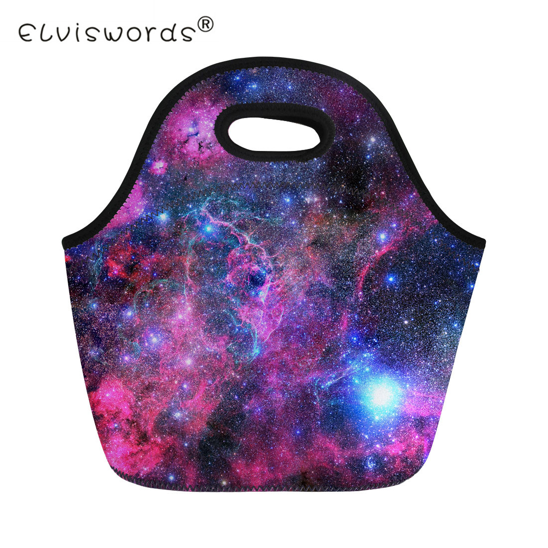 ELVISWORDS Galaxy Universe Space Men Lunch Bag for Women Children Picnic Travel Storage Bags Kids Thermal Insulated Lunch Box