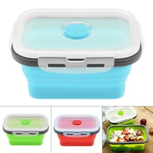 1PCS Portable Silicone Lunch Box Rectangle Folding Food Container Bowl 350ML/500ML/800ML/1200ML Three Colors Eco-Friendly