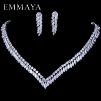 EMMAYA AAA Clear Cubic Zirconia Necklace Earrings Jewellery Sets CZ Zircon Stone Wedding Jewelry Sets for Brides