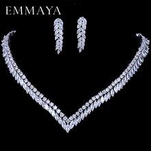 EMMAYA AAA Clear Zirconia Ketting Oorbellen Sieraden Sets CZ Zirkoon Steen Bruiloft Sieraden Sets voor Bruiden