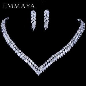 Image 1 - EMMAYA AAA Temizle Kübik Zirkonya Kolye Küpe Takı Setleri CZ Zirkon Taş düğün takısı Setleri Gelinler için