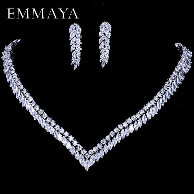 EMMAYA AAA Temizle Kübik Zirkonya Kolye Küpe Takı Setleri CZ Zirkon Taş düğün takısı Setleri Gelinler için