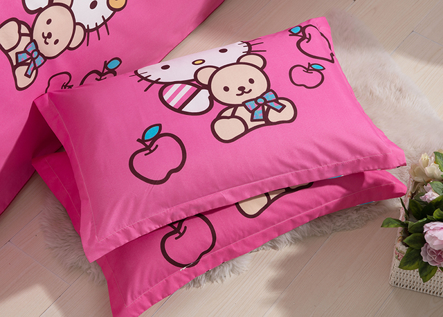 Home Textiles Bedclothes Children Cartoon Pattern Rose red HelloKitty good quality Bedding Sets Duvet Cover Bed Sheet Pillowcase