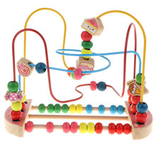 Baby Activity First Bead Coaster Maze Puzzle, Toddler Baby Wooden Roller Coaster Sliding Beads Game Early Education Toy - Candy(China)
