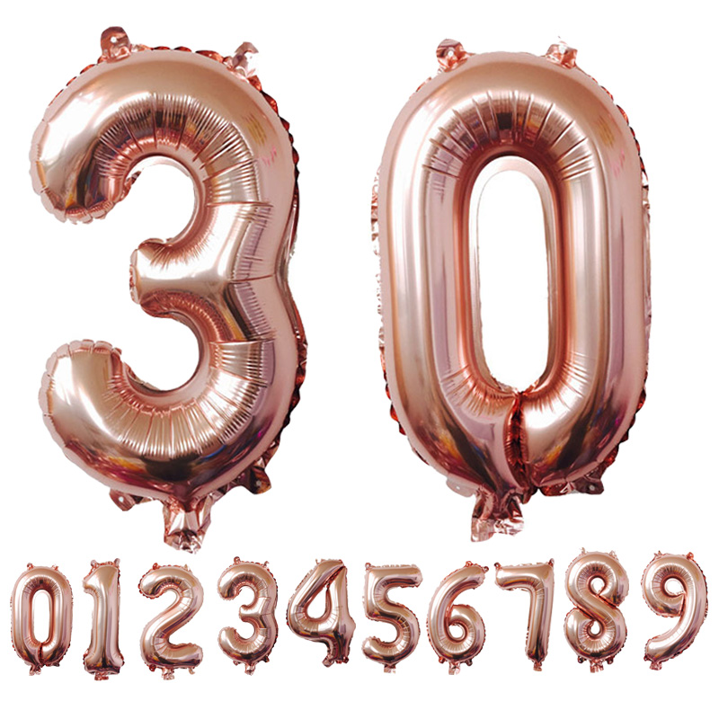 In 14 Inches 10pcs Gold Silver Number Foil Balloons Party Decoration Wedding Birthday Marriage Digit Air Balloons Christmas Gift Fragrant Flavor