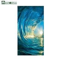 Maruoxuan 2017 새로운 3D 문 페이스트 블루 바다 일몰 웨이브 스티커 침실 문 배경 장식 벽지 Pvc 벽 스티