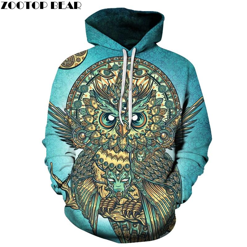 Owl Printed 3D Hoodies Men Brand Sweatshirts Hot Funny Pullover Casual Tracksuits Animal Hoodies Boy Hooded Outwear New Coat