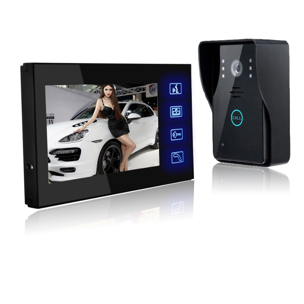 doorbell video wired 7 Video Door Phone Intercom Security Video Doorbell Night Vision HD camera Touch buttons 7 inch video doorbell tft lcd hd screen wired video doorphone for villa one monitor with one metal outdoor unit night vision