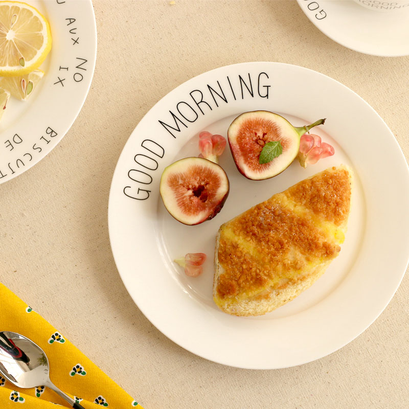 High Quality Bone China Dishes & Plates Ceramic Round Pigmented Good Morning Letter Printed Plate Steak Dessert Dish White 3pcs