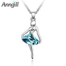 Ожерелье с танцующим ангелом кристаллы Сваровски розовое золото